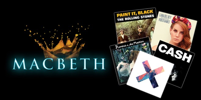 An exploding crown, the title Macbeth, and a collection of music records.