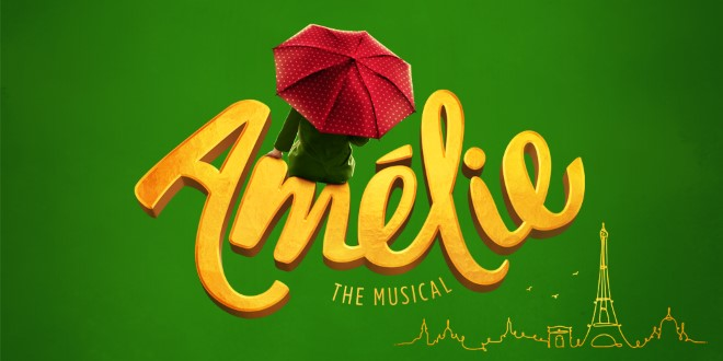 A woman with a red umbrella sitting on the word Amelie.