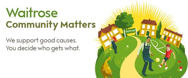 A Waitrose logo alongside an illustration of people having fun outside some colourful houses.